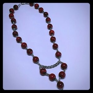 Jewelry - Bamboo Red Coral SS Necklace